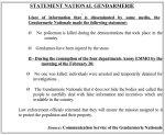 Statement from Gendarmie (translated)